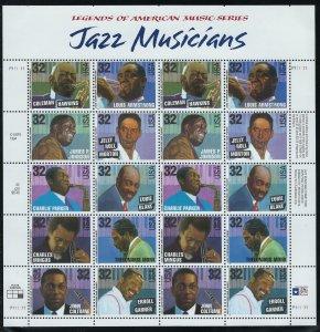 US Scott 2992a Full Sheet! Jazz Musicians! MNH!