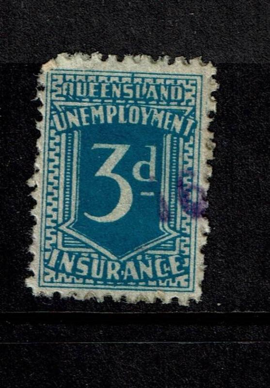 Queensland 1923 3d Unemployment Ins Stamp Used - S3998