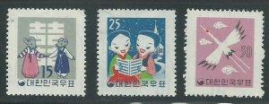 1959 South  Korea Scott Catalog Numbers 298-300 Unused Never Hinged