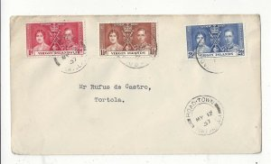 Virgin Islands 1937 FDC Cover, Road-Town to Tortola