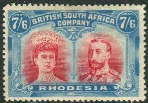RHODESIA-1910-13 7/6 Carmine & Light Blue.  A mounted mint example