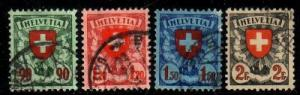 Switzerland Sc 200-3 1924 shield stamps used