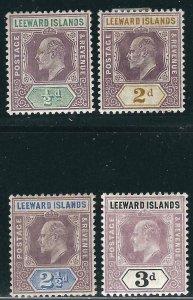 Leeward Is 4 Different KEVII Wmk 2 MLH VF 1902 SCV $28.25