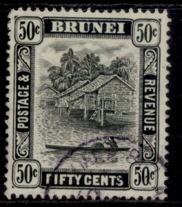 BRUNEI GVI SG89a, 50c black, FINE USED. Cat £24. PERF 13