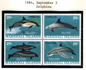 Marshall Islands Scott 54-57a Dolphin block MNH**