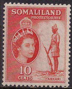 Somaliland 1953 - 58 QE2 10 ct Red Orange MM SG 138 ( R1050 )