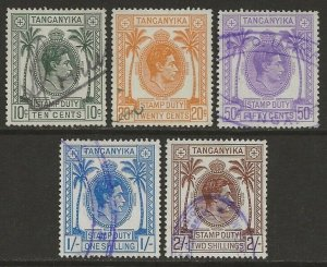 Tanganyika 1938 KGVI Revenue Stamp Duty Short Set Fine Used, Usual Small faults