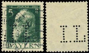 BAVIÈRE / BAYERN - 1911 - Mi.77.I mit FIRMENLOCHUNG  I.L  gebraucht MÜNCHEN