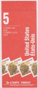 Canada USC #BK180b 1995 52c Gravenstein Apple Pane of Five Booklet