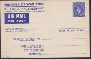 GB GVI 2½d WW2 P.O.W. aerogramme / air letter unused........................6430