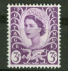Great Britain-Wales #1  QE II  3d. (1) Mint NH