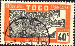 TOGO - 1937 - CACHET À DATE D'ATAKPAME SUR 40c CACACOYER (Yv.134)