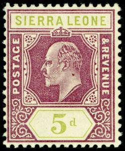 SIERRA LEONE SG106, 5d purple & olive-green, LH MINT. Cat £15.