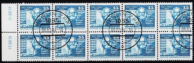 Germany(DDR). 1973 35pf(Block of 10). S.G.E2203. Fine Used(CTO)