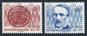 Norway 654-655,MNH.Michel 703-704. Monetary Convention,Meter Convention.1975.