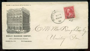 U.S. T I 1st Bur. Iss. on 1895 Ad Cover for Bindley Hardware in Pittsburgh, PA