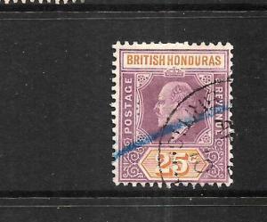 BRITISH HONDURAS 1904-06  25c   KEVII   FU   SG 87