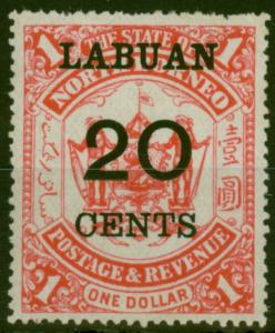 Labuan 1895 20c on $1 Scarlet SG77 Fine Mtd Mint