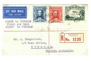 AUSTRALIA Air Mail First Flight Cover Derby Wyndham 1930 {samwells} PA31