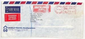 AUSTRALIA Air Mail Cover Travel ADVERT METER Express GB 1980 {samwells}SS300