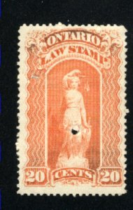 Canada C 20 cent Ontario Law stamp  PD