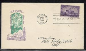 US #838-23 Iowa Ioor cachet addressed