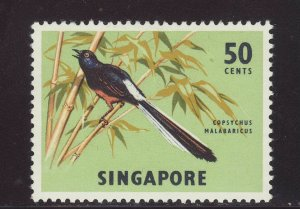 1966 Singapore 50c Copsychus Malabaricus Mounted Mint SG87