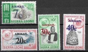 Sierra Leone Surcharged Air Mail set of 1964 Scott C28-C31 MNH