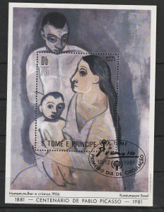 St. Thomas & Prince S/S CTO Centenary of Pablo Picasso 1881-1981