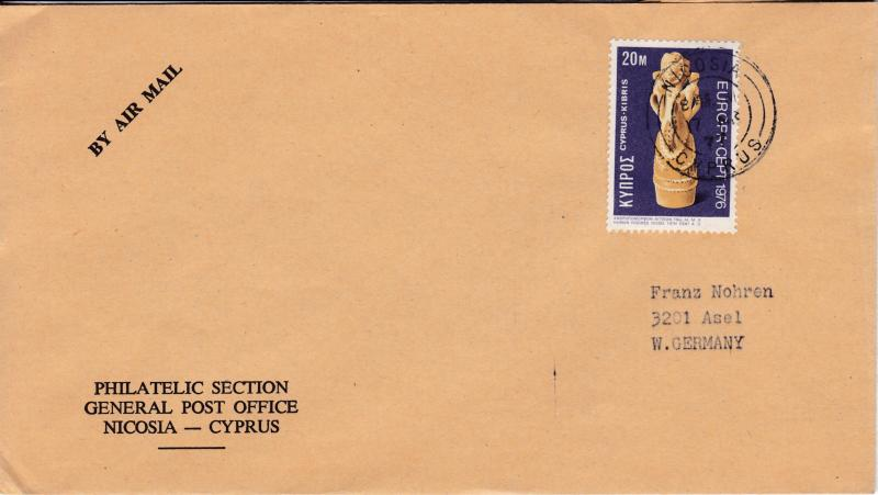 Greek Cyprus 1976 Cover Single Franked with 20m ART .Europa used to Germany