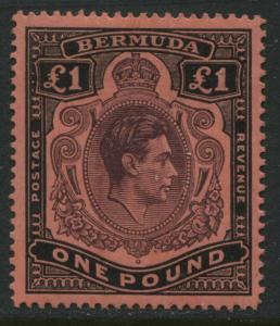Bermuda KGVI 1942 £1 perf 14 unmounted mint NH