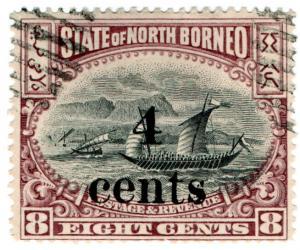 (I.B) British North Borneo Postal : 4c on 8c OP (State)