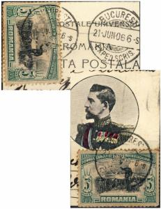 ROMANIA - 1906 (21 JUNE) Mi 189 (x2) on both side of fragment of PPC -early date