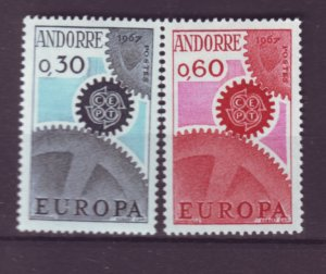 J21994 Jlstamps 1967 french andorra set #174-5 europa