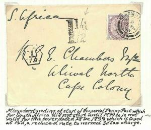 GB FAILED EARLY EMPIRE RATE Dec 1898 Cover South Africa COGH Charged *1½d* AF200
