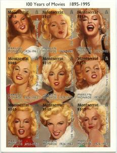 MONTSERRAT #860 Marilyn Monroe 100 years of Movies Souvenir Sheet Mint NH 1995