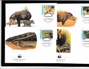 Nicaragua - Fauna WWW - 4 FDC - SOUTH AMERICAN TAPIR