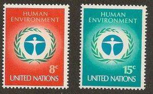 United Nations 229-230 New York Human Environment 8c 15c set MNH 1972