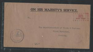 SARAWAK (P2805B) SERIAN OFFICIAL BOX POST PAID IN RED ON OHMS ENVELOPE