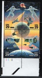 US  2653a MNH  SPACE ACCOMPLISHMENTS PLATE BLOCK 1992
