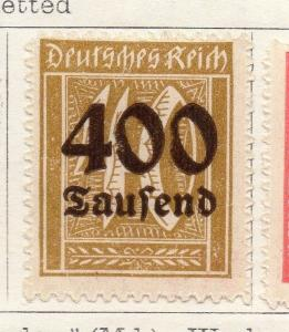 Germany 1923 Early Issue Fine Mint Hinged 400T. Surcharged 131290