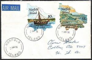 NORFOLK IS 1976 cover to USA - 150th Anniv self adhesives..................73568