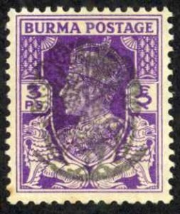 Burma Sc# 1N5 Used overprint 1942 3p Henzada Issue