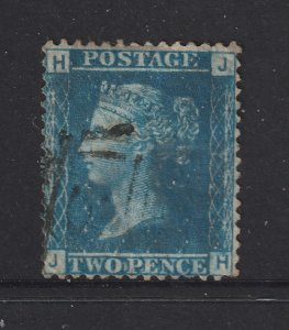 Great Britain a used perf QV 2d blue plate 7