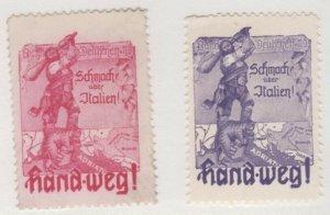 Austria World War 1 Smite Italy Pair of Propaganda Stamps NG