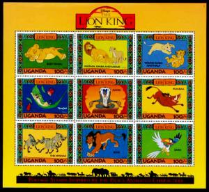 UGANDA Disney's - The Lion King Sheet of 9 MNH