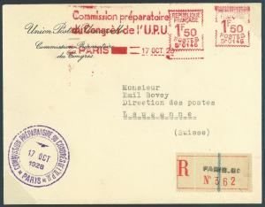 FRANCE Cover UPU CONGRESS 1928 Official Mail HIGH RATE METER Franking Paris MC10