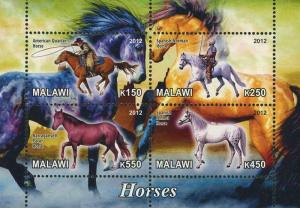 Malawi Horse Cowboy Animal Souvenir Sheet of 4 stamps Mint NH