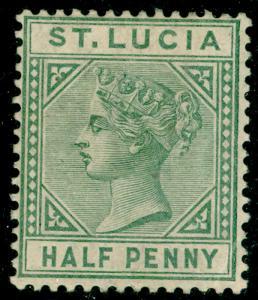 ST. LUCIA SG31, ½d dull green, LH MINT. Cat £16.