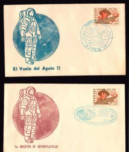 1969 SPACE Apollo 11 space planet moon stars rocket URUGUAY EVENT COVERS